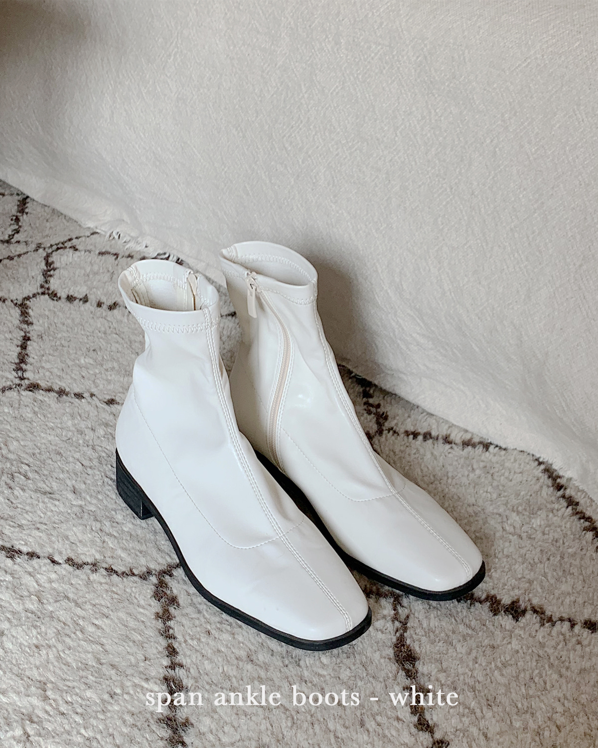 SPAN ankle boots - WHITE